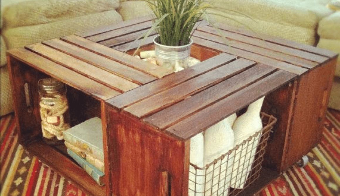 8 DIY Decor Projects for Your Living Room Crate Coffee Table Image